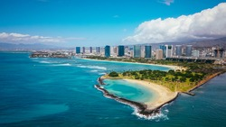 Aerial  Magic Island Lagoon, Oahu, Hawaii