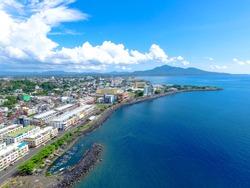 Aerial Manado City north Sulawesi Beautiful cityscape