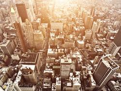 Aerial Manhattan View at Sunset
