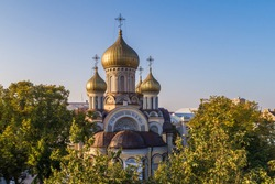 Aerial morning view of orthodox Church of St. Michael and St. Constantine in Vilnius old town, Lithuania
