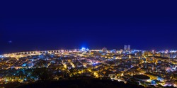 Aerial night in Santa Cruz de Tenerife at Canary Islands