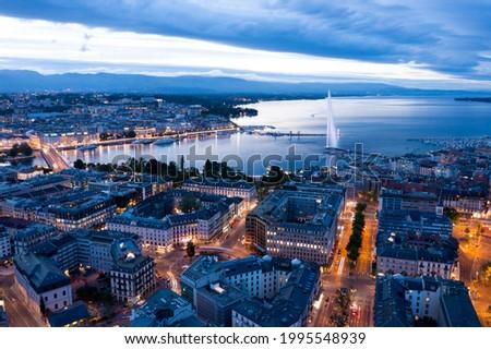 Aerial  night view of Geneva city waterfront skyline in Switzerland Stock photo ©