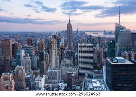 Aerial night view of Manhattan skyline - New York - USA #296024963