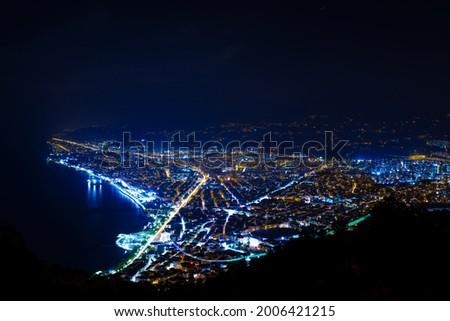 Aerial night view of Ordu city in Turkey from Boztepe Stok fotoğraf ©