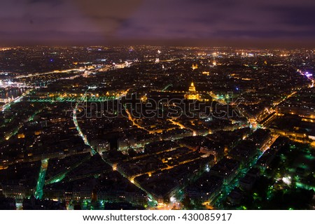Aerial Night view of Paris City and Seine river shot