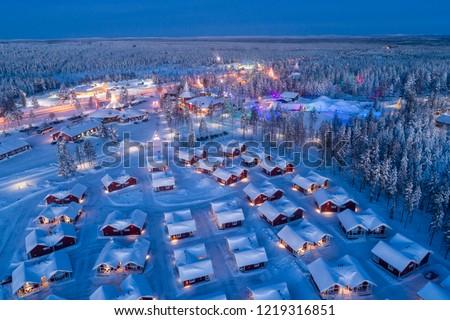 Aerial night view of Santa Claus Village in Rovaniemi in Lapland in Finland.
