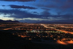 Aerial night view of the west Las Vegas suburbs.