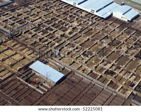 Aerial of a large stock yard in the central United States.