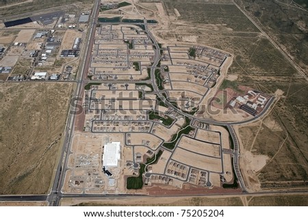 Aerial of a typical Southwest style housing development