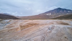 aerial of a vast and desolate landscape of a hot spring in high altitude in the highlands of the Andes in Chile, south america