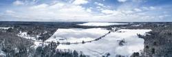 Aerial Of Abandoned Canadian Frozen Winter Farm Feilds