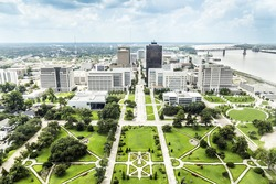 aerial of baton Rouge with famous skyline