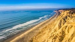 Aerial of beach in Blacks Beach, San Diego, California.