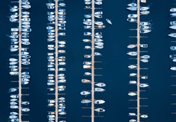 Aerial of boats in European Marina