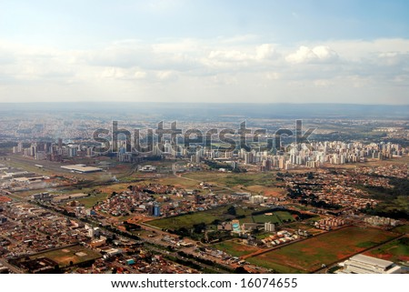 Aerial of Brasilia, the capital of Brazil, a model of modern urban planning and zoning