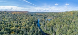 Aerial Of Changing Autumn Leaves In Northern Ontario Canada