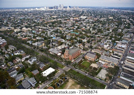 Aerial of Church and neighborhood in the City of New Orleans