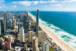Aerial of city and beach. Modern aerial cityscape of resort town and beach. View from above Australia, Gold Coast, Surfers Paradise