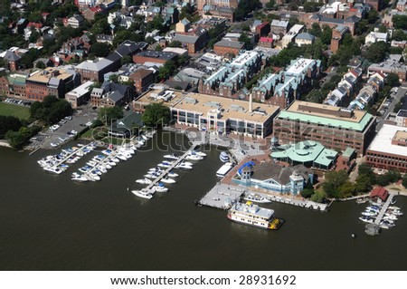 Aerial of downtown Alexandria, Virginia, on the Potomac River, near Washington DC