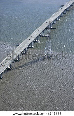 Aerial of Dumbarton Bridge over the San Francisco Bay in Newark, California, USA.