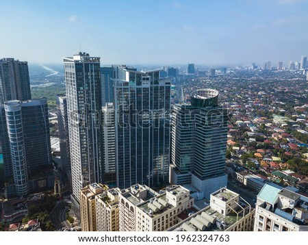 Aerial of Eastwood city skyline and cityscape along C5. Libis, Quezon City, Philippines. Stockfoto ©