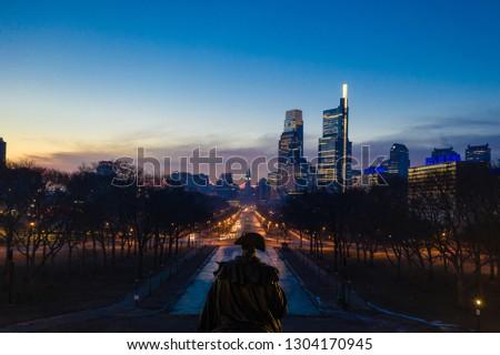 Aerial of Foggy Sunrise in Philadelphia #1304170945