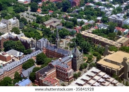 Aerial of Georgetown University in Washington DC.