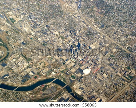 Aerial of Indianapolis Indiana, centered on downtown. Soldiers and sailors monument clearly seen.