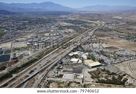 Aerial of Interstate 10 in the Coachella Valley looking West towards Palm Springs, California
