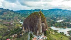 Aerial of large granite rock in Guatape, Colombia Medellin