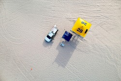 Aerial of lifeguard tower, Gold Coast.
