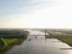 Aerial of Martinus Nijhoffbrug in Zaltbommel (The Netherland) by drone