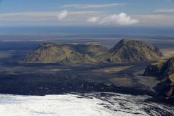 Aerial of Mountains, Emstrur Area. Region by Katla- subglacial volcano under Myrdalsjokull Ice Cap, Iceland