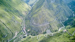 Aerial of Nariz del Diablo, devil's nose, a famous railroad track in the andes of Ecuador, so steep, it has to zig zag up the mountains with reversing into dead ends, South America