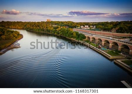 Aerial of New Brunswick New Jersey Sunset #1168317301