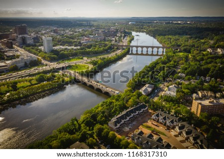 Aerial of New Brunswick New Jersey Sunset #1168317310