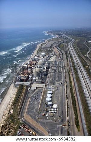 Aerial of nuclear power plant on California coast, USA.