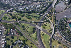 Aerial of Oahu Freeway Interchange - Hawaii