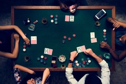 Aerial of people playing gamble in casino