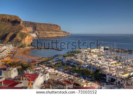 Aerial of Puerto de Mogan, Gran Canaria Island, Spain. HDR image - wide angle.