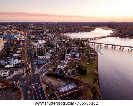 Aerial of Red Bank NJ Sunset #766585162