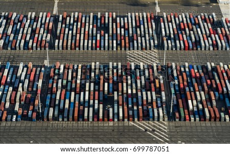 Aerial of shipping containers, Botany Bay, Sydney #699787051