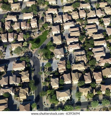 Aerial of suburban neighborhood on outskirts of Phoenix, Arizona.