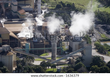 Aerial of sugar cane factory in Queensland