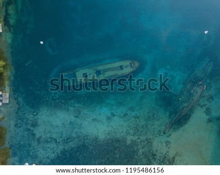 Aerial of the historic sight (1867) of the Canadian Schooner Ship Sweepstakes is a sunken ship wreck in Tobermory in the Fathom Five National Marine Park and popular among divers and tourism
