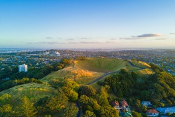 Aerial of the Mount Eden volcano in Auckland, Newzealand.