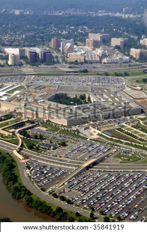 Aerial of the Pentagon, the Department of Defense headquarters in Arlington, Virginia, near Washington DC.