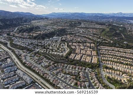 Aerial of the Stevenson Ranch suburban community in Los Angeles County California.