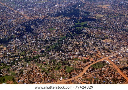 Aerial of the vast slums of Juba, the capital of South Sudan. Can be used to symbolize a poor residential urban neighborhood anywhere in Africa