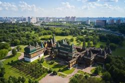 Aerial of the wooden palace of Tsar Alexei Mikhailovich. Kolomenskoye park, Moscow, Russia
